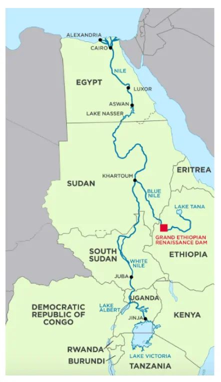 מפת המדינות המושפעות מהסכר