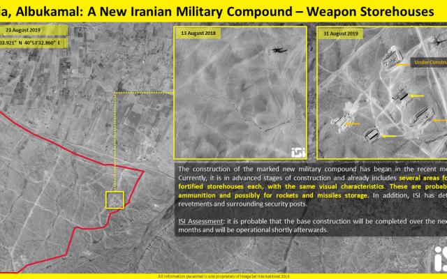 Image satellite montrant la construction d'une nouvelle base militaire iranienne dans la région irakienne d'Albukamal Al-Qaim, près de la frontière syrienne (ImageSat International via Fox News)