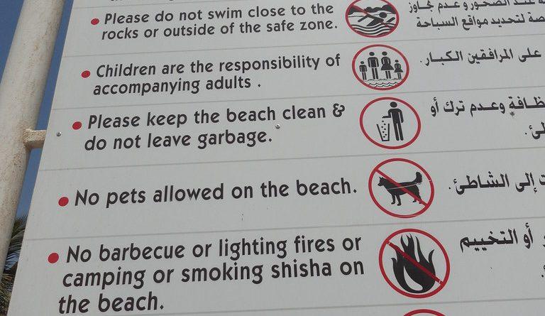 Dubai-Al-Mamzar-Beach-Park-Regulations-sign